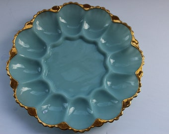 Antique Blue Milk Glass Fire King Deviled Egg Plate Delphite Blue Glass Deviled Egg Plate 1940s Farmhouse Kitchen