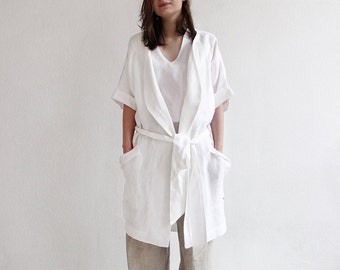 White linen robe, White linen dressing gown, White night robe, White linen bathrobe, White bath robe