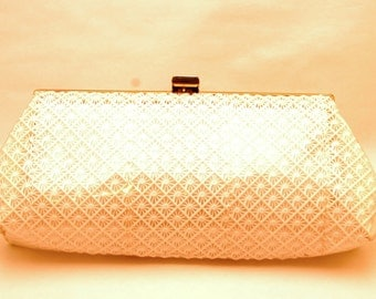 "Vintage 60s White Plastic Clutch with ""star"" detail"