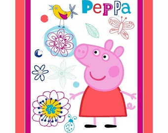 Peppa Pig pink Fabric Panel Story of Cotton quilt top springs creative Wall hanging craft project Quilting material NEW