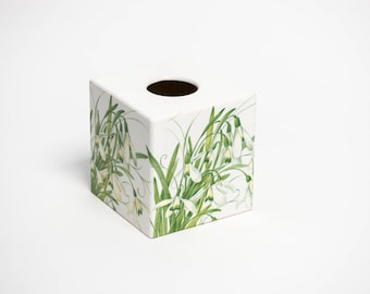 Tissue Box Cover Snowdrop wooden decoupaged made by hand