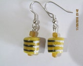 Yellow & Black Striped Earrings