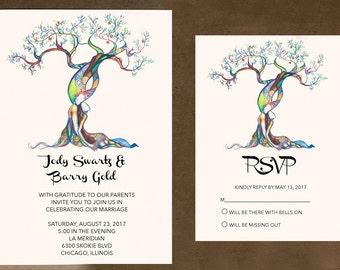 love tree wedding invitations destination wedding invitation colorful wedding invite rustic wedding - Tree Wedding Invitations