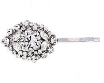 crystal hair clip, vintage hair clip,  bridesmaid hair clip, silver hair clip, bridal hair clip, vintage style hair clip,  1920s hair clip
