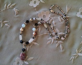 Rose quartz black necklace, rose quartz, black crystal, silver, pink pearl, lace marble beaded pendant necklace