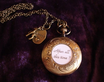 Harry Potter Always Pocket Watch Necklace w. After all this time on back, doe + always charm on chain - wear all TOGETHER or each alone