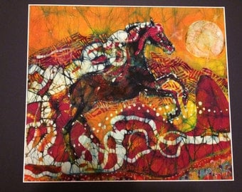 Horse Art  -  Horse Bursts Into Sky  - horse leaping - abstract - Original batik painting