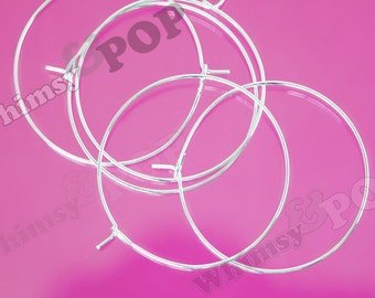 100 - Silver Plated Wine Glass Charm Rings / Earring Hoops Blanks and Findings, Silver Blanks,  35mm (C1-24)