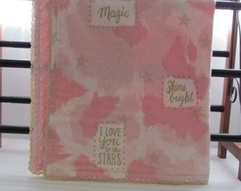 Minky baby blanket- I love you to the stars minky blanket- girls minky blanket- star minky blanket-minky blanket- toddler minky blanket