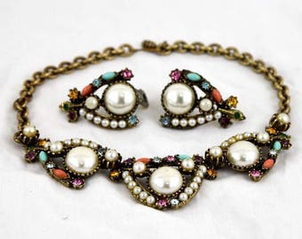 Selro Designer Julianna 1940's Fruit Salad Chunky Brass Pearl Multi Color Crystal Necklace & Earring Set
