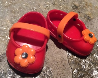 Jeweled crocs, doll shoes, fit American Girl, doll clothes