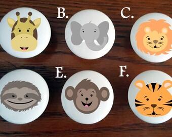 Safari animals nursery knobs /Safari designs / Cute Cabinet Knobs/ Jungle theme Dresser Knobs / Lion / Giraffe / Tiger / Elephant / Monkey