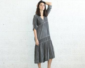 Pre Winter Sale 15% SALE!V-Neck Boho Dress, Gray.