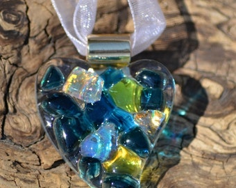 Stunning Fused Glass Heart Pendant or Ornament with Dichroic