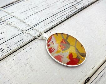 Pendant Necklace, Glass Pendant, Glass Pendant Necklace, Charm Necklace, Bezel Necklace, Oval Pendant, Floral Necklace, Virginia Floral