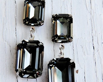 Gray Black Diamond Earrings Swarovski Crystal Earrings Rectangle Drop Rhinestone Post Dangle or Clip on Earrings Fiesta Mashugana