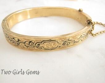 Gold bangle bracelet, Victorian bracelet,  Two Girls Gems