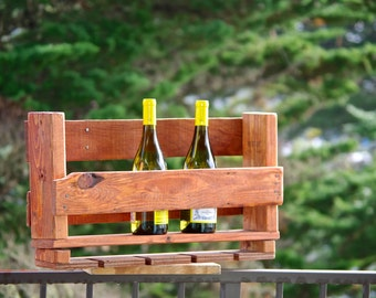 "24"" Reclaimed wood pallet Wine rack 6 bottle rustic kitchen farmhouse Furniture with wine glass holders farm barn primitive wine rack"