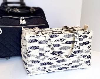 Duffle Bag for Women , Weekender Travel Bag , Carry On Tote , Gym Bag , Girl's Overnight Bag , Navy Creme , Graduation Gift , Trolley Sleeve