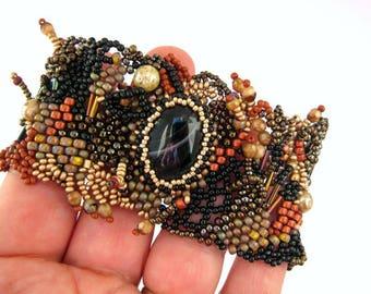 Beaded bracelet with earth colors Beaded jewelry Birthday gift for women Girlfriend gift Freeform peyote bracelet Statement jewelry