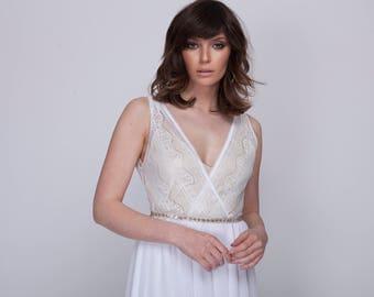 wedding dress, beach wedding, boho wedding dress, lace wedding boho wedding dress with deep V neck cleavage, Barzelai wedding dress