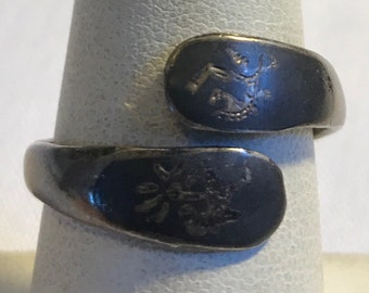 Vintage Black Enameled Siam Sterling Bypass Ring-Size 8 Adjustable