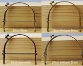 Half Round / Curve Handle Purse Frame - 10cm / 15cm / 20cm / 22cm - Silver / Gunmetal / Antique Brass