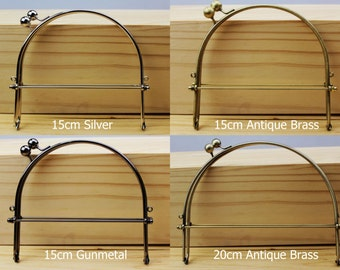 Half Round / Curve Handle Purse Frame - 10cm / 15cm / 20cm / 22cm - Silver / Gunmetal / Antique Brass