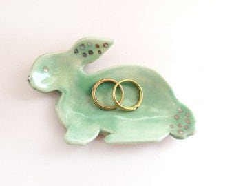 Ring dish. Ceramic Bunny Dish. Easter. White Gold. Mint. Handmade Pottery. Trinket Dish. Easter Bunny