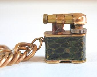 Antique Mid-Century Golden Wheel Brass Lighter on Chain