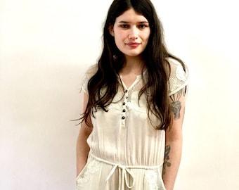 Vintage Bali Lace White Jumpsuit Gauze Hippie Romper Summer Playsuit