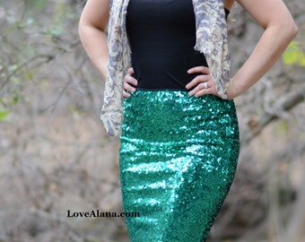 Emerald Pencil Sequin Skirt - Stretchy, beautiful knee length skirt (S,M,L,XL) Made in LA, ships asap!