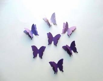3D Paper Butterflies, bridal shower decor, baby shower decor, birthday party, garden party decor, purple butterflies, wedding wall art