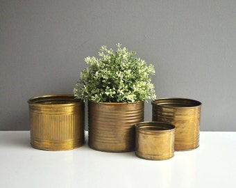 Vintage Brass Container Collection - Brass Vessels or Planters