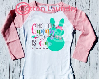 Birthday shirt girls bunny easter birthday tee, personalized birthday tee shirt for 1st, 2nd, 3rd and beyond birthday