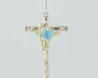 Blue Topaz Cross Pendant - Sterling Silver & 18k Yellow Gold Faith Gift .56ct Q6366