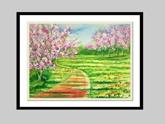 Cherry Blossom Trees Original Watercolor Painting, Landscape, Park, Spring,  matted to 16x20, Pink, Green, Rust, Yellow, Blue