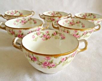 6 Limoges Bridal Wreath Dessert Bowls 2 Handle Fine Porcelain Bridal Rose 1920's