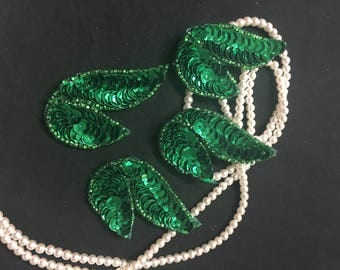 4 Beaded Sequins LEAF  Applique in GREEN