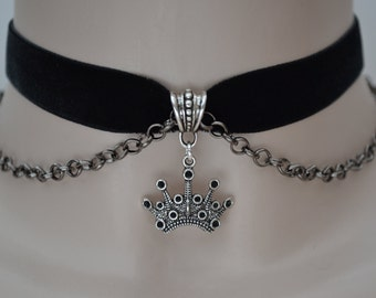 Gothic CROWN & CHAIN Velvet BLACK 16mm Ribbon Choker  -so... or choose another colour velvet from a wide choice :)