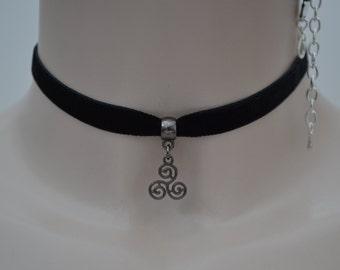 Gunmetal/Black Celtic TRISKELION Triquetra Charm BLACK 10mm Velvet Ribbon Choker Necklace - pb... or choose another colour velvet :)