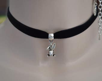 Dinky Bunny RABBIT Charm  BLACK 10mm Velvet Choker Necklace - lr.. . or choose another colour please, hand made to size :)