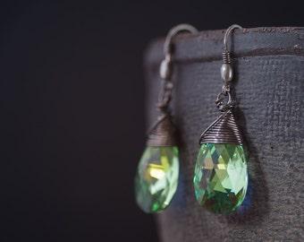 Peridot Green Crystal Earrings Drop Swarovski Earrings Birthday Gift For Her Large Earrings Gift For Wife Bridesmaid Gift Bridal Earrings