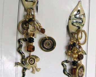 """Lunch At The Ritz """"Wild Emu Dreaming"""" CLIP Earrings"""
