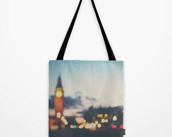 tote bag market tote London photograph photo bag book bag London print surreal photography big ben photograph bokeh print