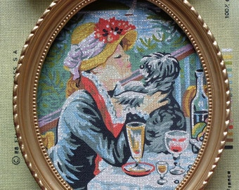 Vintage | Royal Paris | LA FEMME Au CHIEN | Handpainted Needlepoint Canvas | Kit - Woman With The Dog By Pierre-Auguste Renoir