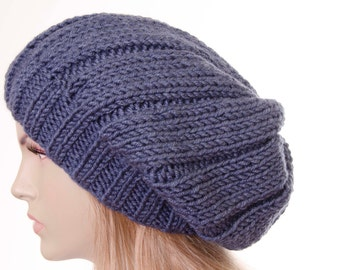 Winter knit hat ,slouchy beanie  oversized beanie hat in denim   -COLOR OPTION  AVAILABLE