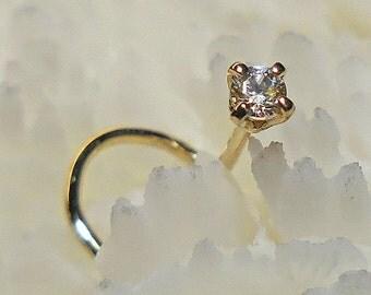 DIAMOND, 14K, 2mm, 22G, gold nose jewelry, nose stud, diamond nose stud, nose ring, ready to ship