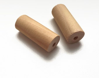 10 Unfinished Wooden Tubes, Natural Wood Tubes, Wood Cylinder W 70 060