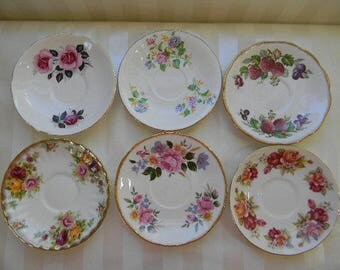 6 Assorted Vintage English Bone China Saucers